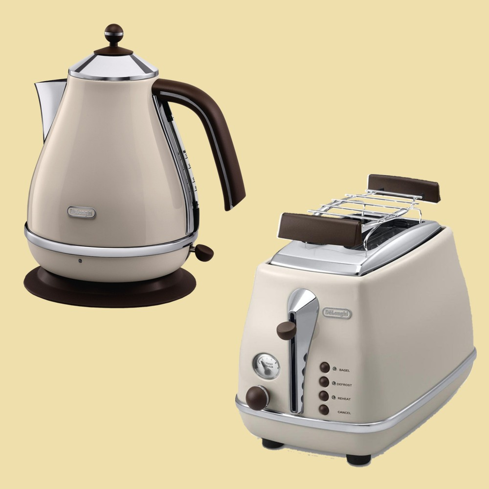 delonghi set icona vintage wasserkocher kbov2001 bg toaster ctov2103 bg beige ebay. Black Bedroom Furniture Sets. Home Design Ideas