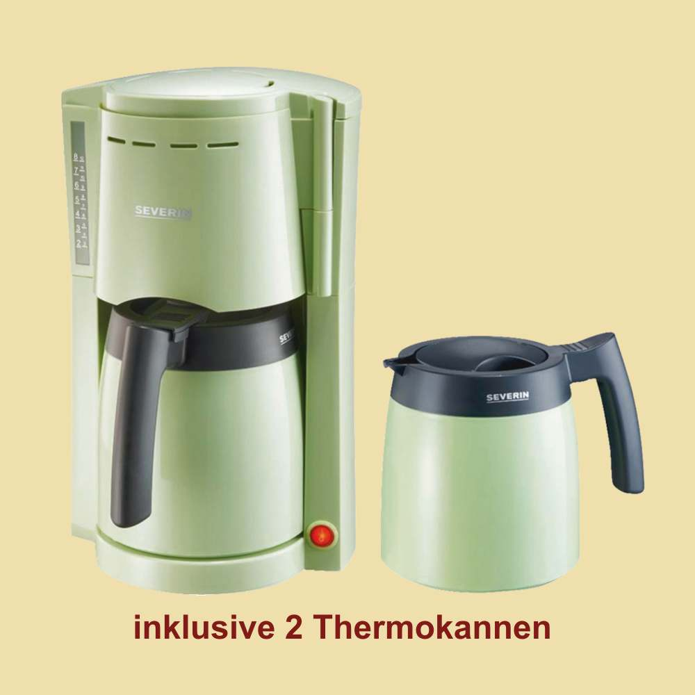 severin thermo kaffeemaschine ka 9747 mit 2 thermokannen gr n schwarz ebay. Black Bedroom Furniture Sets. Home Design Ideas