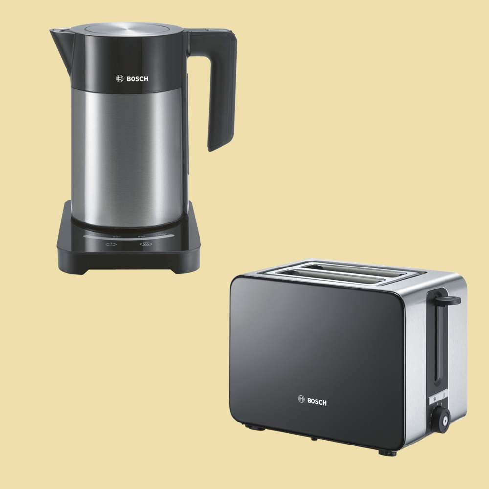 bosch set wasserkocher twk 7203 toaster tat 7203 edelstahl schwarz ebay. Black Bedroom Furniture Sets. Home Design Ideas
