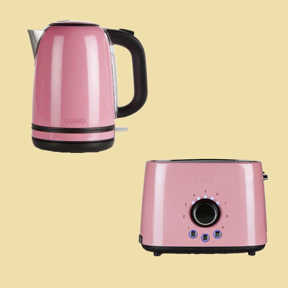 Domo Set rosa//schwarz Wasserkocher DO 487 WK Toaster DO 952 T