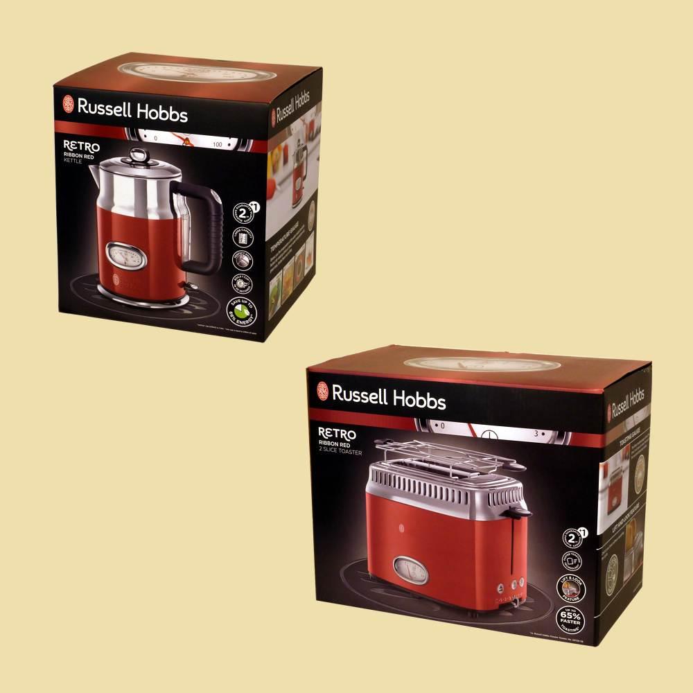 russell hobbs set retro ribbon red wasserkocher 21670 70 toaster 21680 56 ebay. Black Bedroom Furniture Sets. Home Design Ideas
