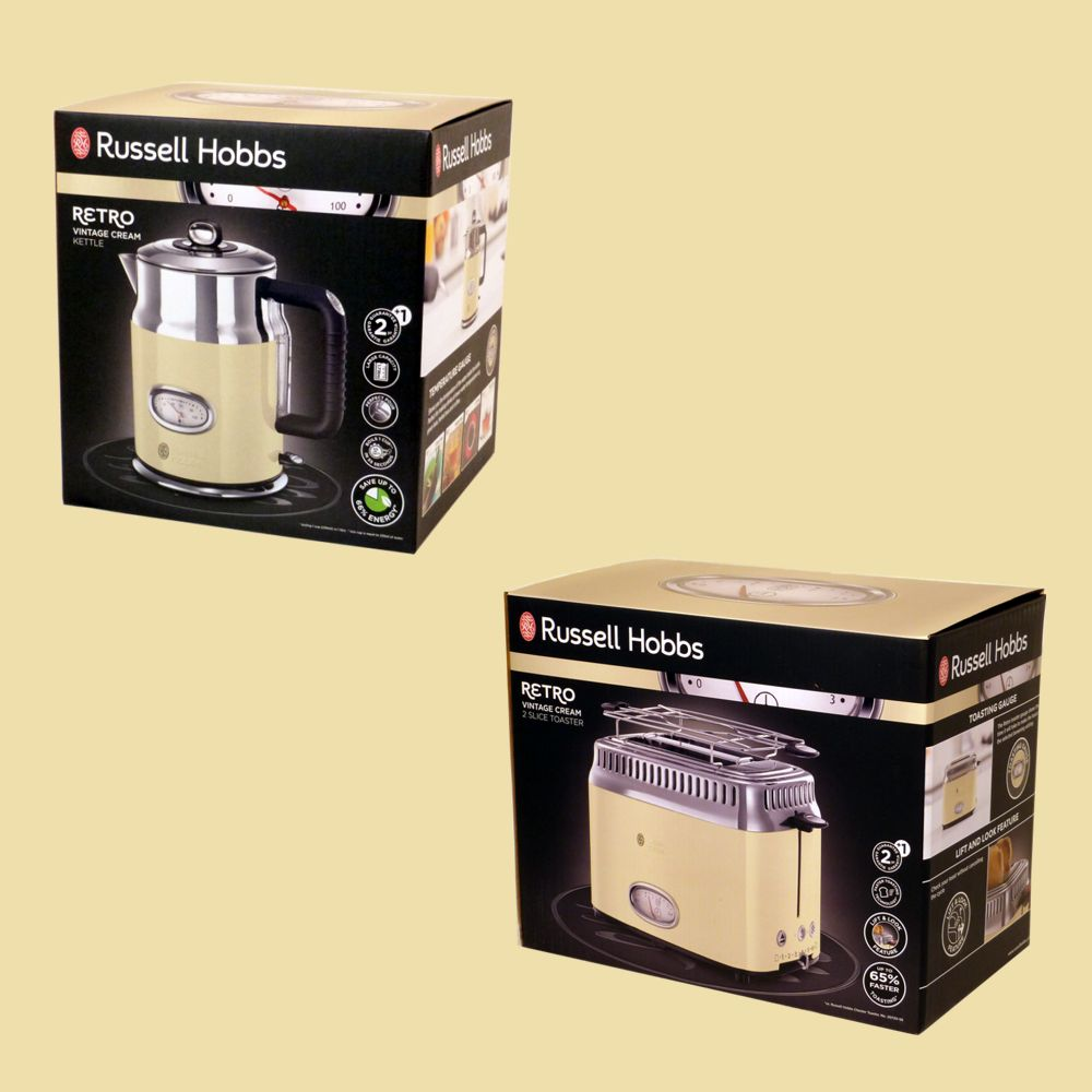 russell hobbs retro vintage cream set wasserkocher 21672 70 toaster 21682 56 ebay. Black Bedroom Furniture Sets. Home Design Ideas