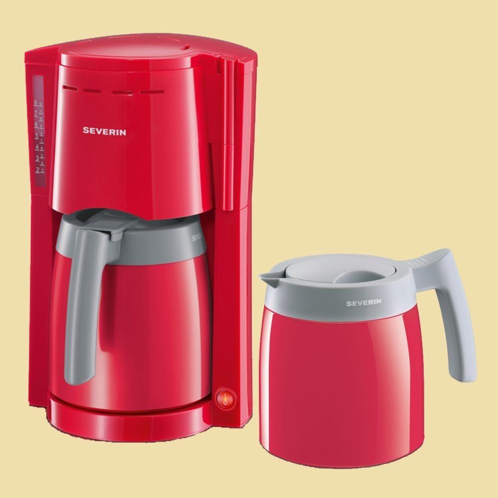 severin thermo kaffeemaschine ka 9746 mit 2 thermokannen rot grau ebay. Black Bedroom Furniture Sets. Home Design Ideas
