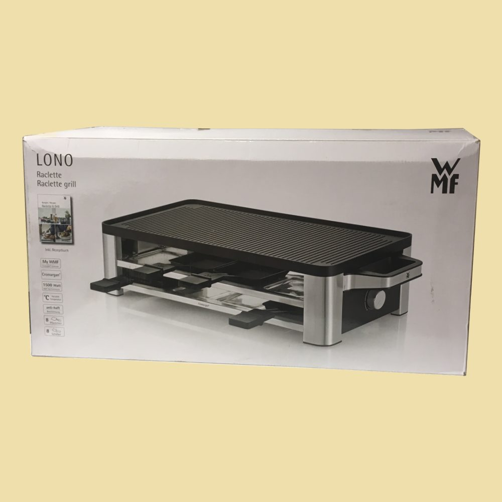 wmf raclette lono grill crepes schwarz edelstahl ebay. Black Bedroom Furniture Sets. Home Design Ideas